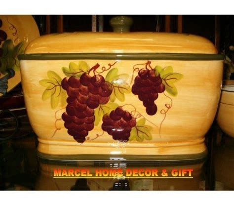 wine kitchen canisters kitchen decor grape desing tuscany wine bread canister box