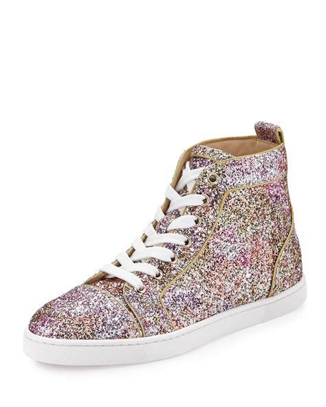 christian louboutins sneakers for christian louboutin bip bip glitter aquarium high top