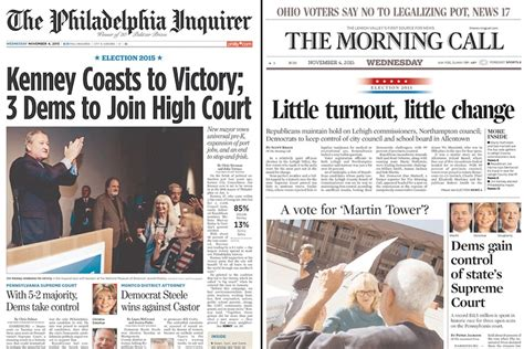 philadelphia inquirer travel section post election newspaper front pages