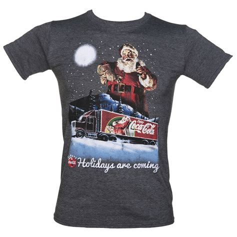 design t shirt for holiday men s coca cola holidays are coming christmas t shirt