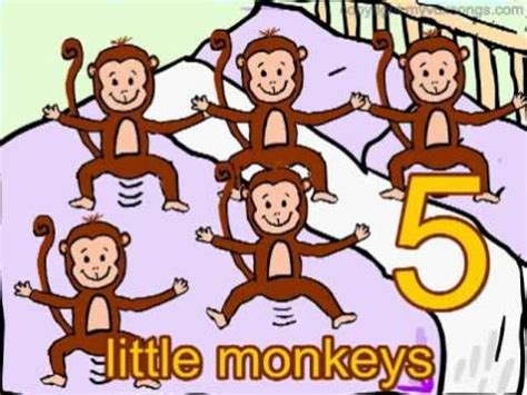 monkeys jumping in the bed 5 little monkeys