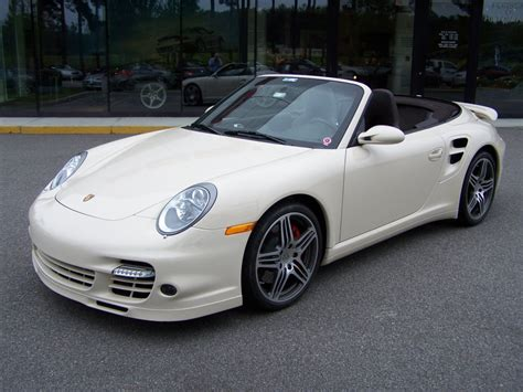 white porsche convertible 2009 porsche 911 turbo cab in cream white with cocoa