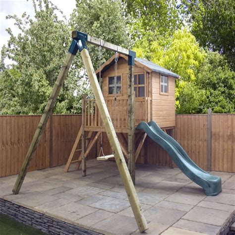 playhouse with swing and slide outstanding wooden playhouse for kids outdoor design