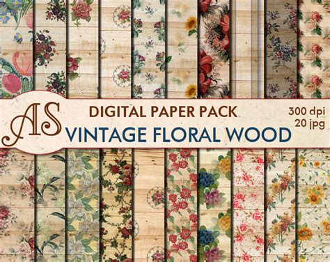 Decoupage Paper Onto Wood - digital vintage floral wood paper pack 20 printable