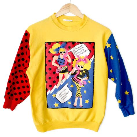 Sweater Comic Pop vintage totally 80s valley comic pop tacky sweatshirt the sweater shop