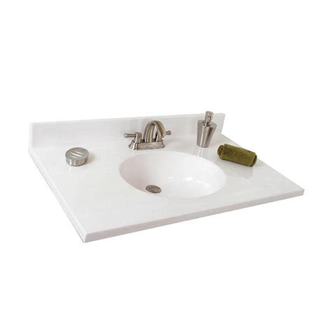 Cultured Marble Vanity Tops With Sink by Shop Style Selections Oval White On White Cultured Marble