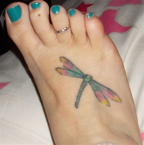 small dragonfly tattoo on foot small dragonfly on foot