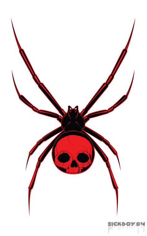 red back spider tattoo designs skull spider design