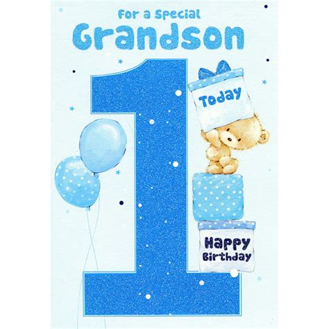Birthday Card For Grandson 1st Birthday Grandson 1st Birthday Greeting Card
