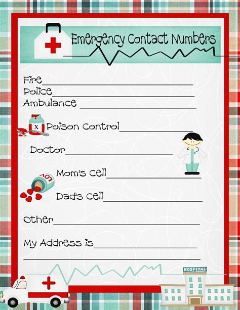 Emergency Numbers Card Template by Emergency Numbers Printable Emergency Contact Phone