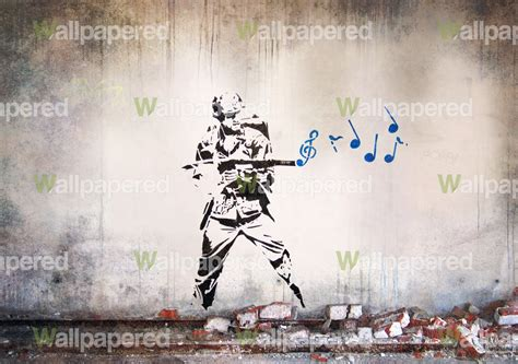 Wallpaper Sticker Kode Rdws 047 banksy musical soldier mural wallpaper picture to pin on