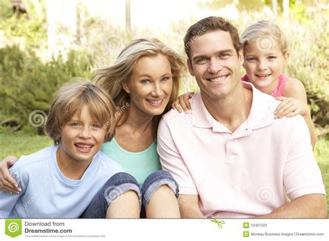 happy family garden portrait of happy family in garden stock image image
