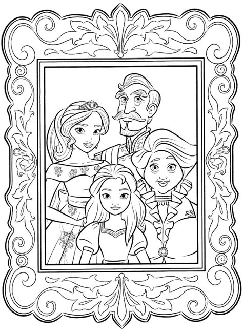 family portrait coloring page elena of avalor coloring pages getcoloringpages com
