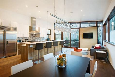 kitchen open to dining room brilliant 60 modern open kitchen living room designs