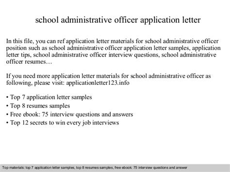 School Admission Officer Cover Letter School Administrative Officer Application Letter