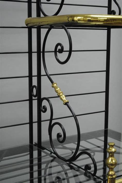 Large French Bakers Rack Wrought Iron and Brass Vintage by