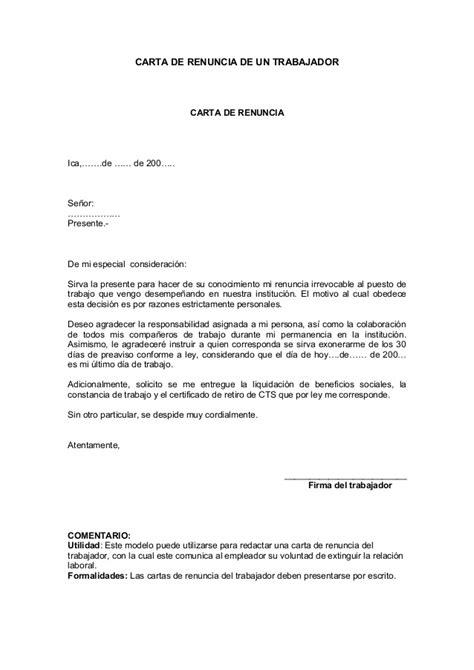 Carta De Renuncia Ejemplo Ecuador carta de renuncia de un trabajador carta de renuncia ica de de 200 se 241 or
