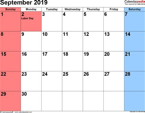 september 2019 calendar september 2019 calendars for word excel pdf