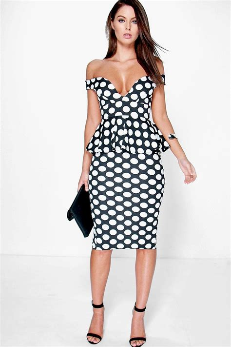 Nl Dress Polka may the shoulder polka dot peplum midi dress at boohoo