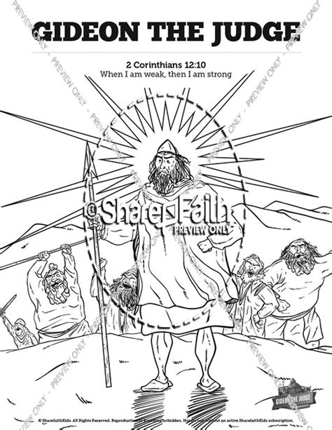 coloring pages for the book of judges judges 6 gideon sunday school coloring pages sunday