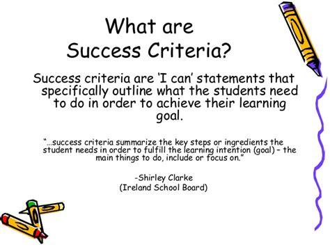 design success criteria learning goals and success criteria