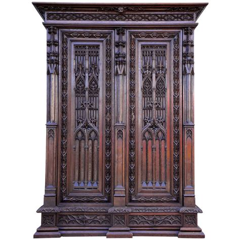 gothic armoire gothic revival oak armoire in the spirit of violett le duc