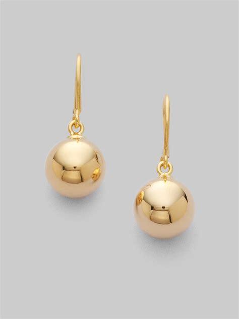 gold bead earrings roberto coin 18k yellow gold bead earrings in metallic lyst