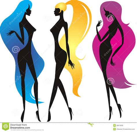 long hair stock photos royalty free images vectors three girls with long beautiful hair stock illustration