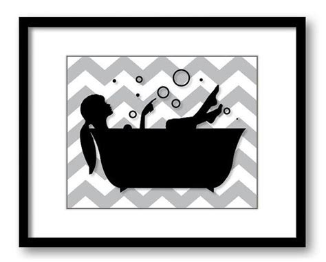 black and white bathroom art bathroom decor bathroom print grey gray black white girl