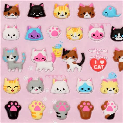 Amazing Christmas Toys For Cats #2: Cute-cats-sponge-sticker-Q-Lia-160396-1.jpg