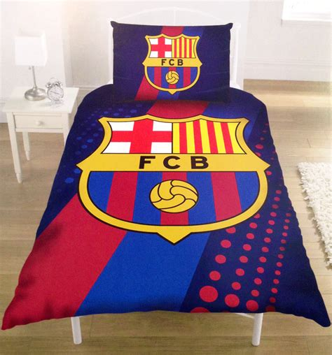 fc barcelona bedding official fc barcelona barca football club stripe duvet quilt cover bedding set ebay