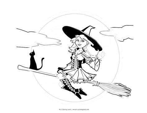 cute witch coloring page otroci my coloring land