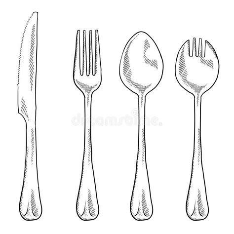 Drawing Utensils by Utensils Drawing Stock Vector Illustration Of