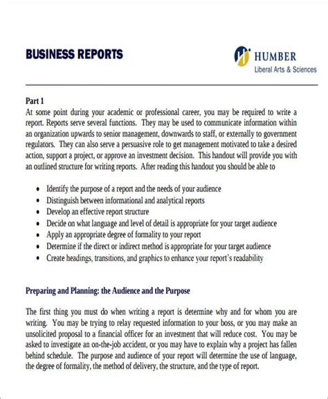 business letters and reports 15 sle business report free sle exle format