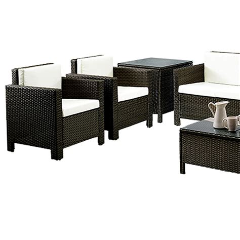 rattan 2 chairs and 2 seater sofas with 90cm coffee table