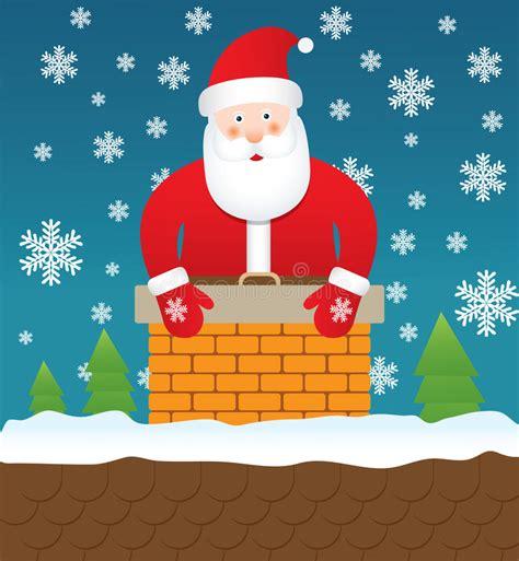 santa claus stuck in chimney illustration stock