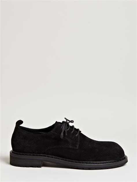 demeulemeester mens suede derby shoes in black for