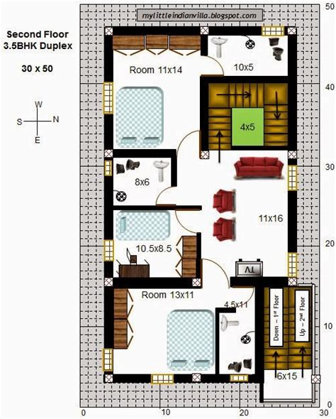 home design for 30x50 plot size my little indian villa 43 r36 3 5bhk duplex in 30x50