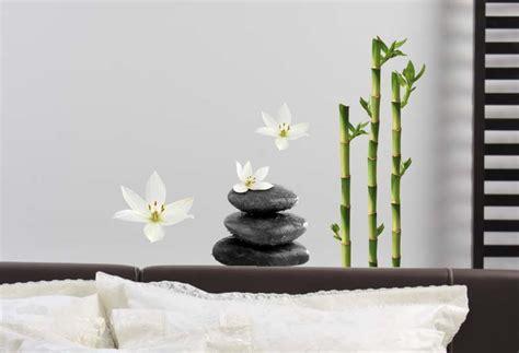 d 233 coration zen galets fleurs de lotus et bambous stickers