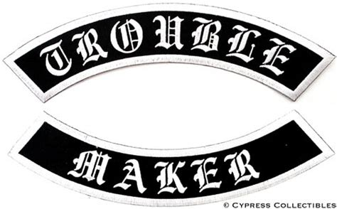 Trouble Maker Embroidered Patch 2 Large Rocker Patches Biker Patch Template