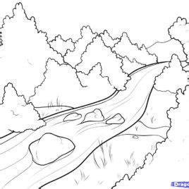 river bank coloring page nature beautiful river bank landscape of nature coloring
