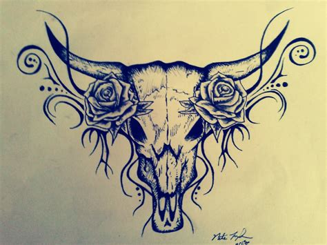 cow skull tattoo design bull skull myfolio