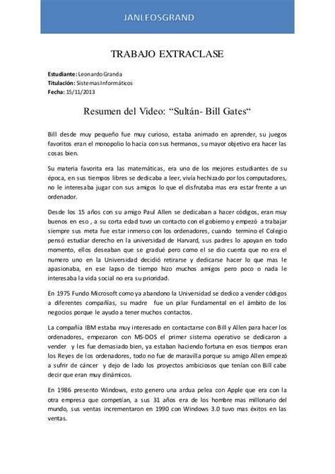 Resume Of Bill Gates by Resumen Sultan Bill Gates