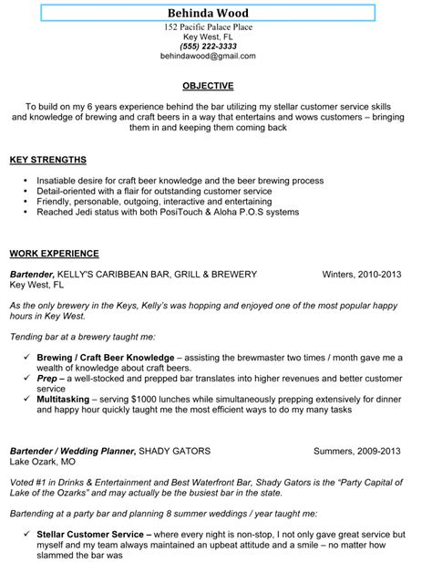 bartending resume objective sle bartender resume behinda wood writing resume sle