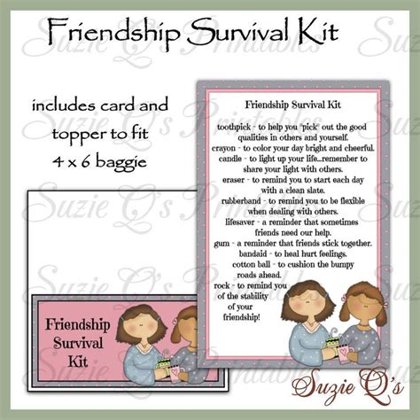 printable card kits friendship survival kit includes topper and card digital