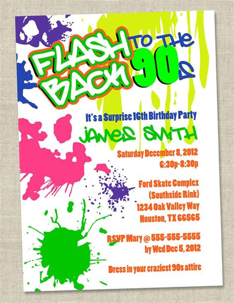 Retro 80 S Card Templates by Graffiti Birthday Invitations Neon Invitation