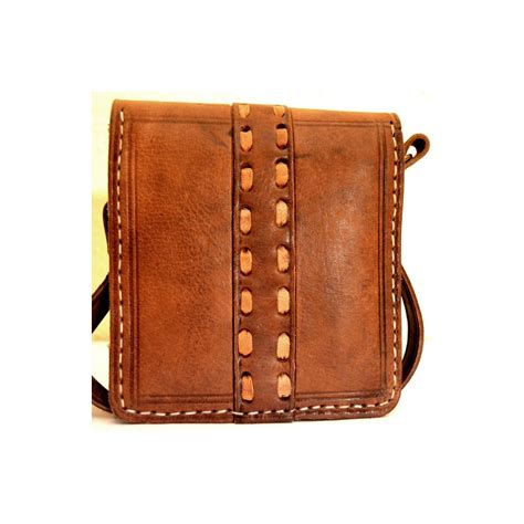 Handcrafted Leather Bag - handcrafted leather messenger bag with leather stitches