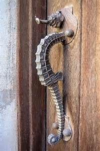 seahorse door handle cottage house