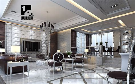 silver living room modern interior design