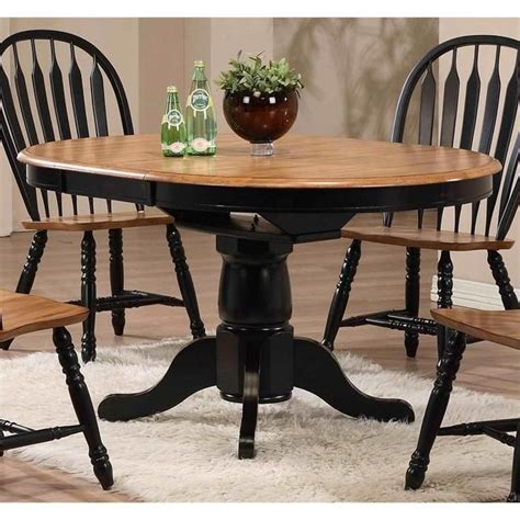 Restain Dining Table Single Pedestal Dining Table In Rustic Oak And Black Nebraska Furniture Mart Kitchen